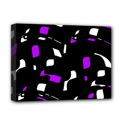 Purple, black and white pattern Deluxe Canvas 16  x 12