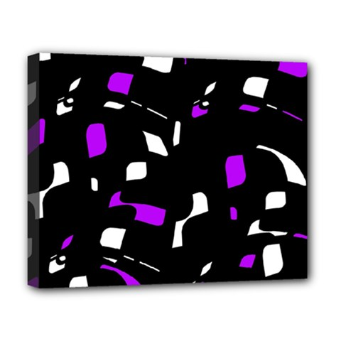 Purple, black and white pattern Deluxe Canvas 20  x 16