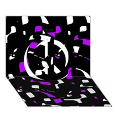 Purple, black and white pattern Peace Sign 3D Greeting Card (7x5)