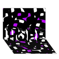 Purple, black and white pattern HOPE 3D Greeting Card (7x5)