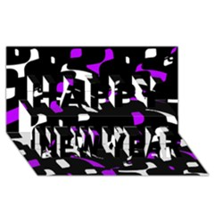 Purple, black and white pattern Happy New Year 3D Greeting Card (8x4)