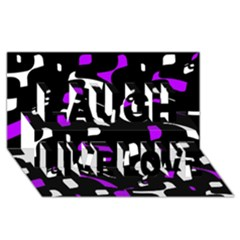 Purple, black and white pattern Laugh Live Love 3D Greeting Card (8x4)