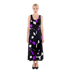 Purple, Black And White Pattern Sleeveless Maxi Dress