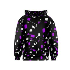 Purple, black and white pattern Kids  Pullover Hoodie