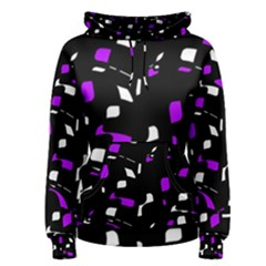 Purple, black and white pattern Women s Pullover Hoodie