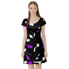 Purple, black and white pattern Short Sleeve Skater Dress