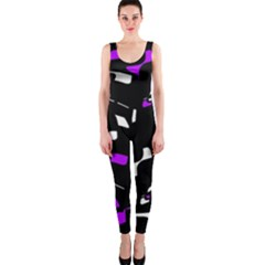 Purple, black and white pattern OnePiece Catsuit