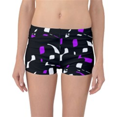 Purple, black and white pattern Reversible Boyleg Bikini Bottoms