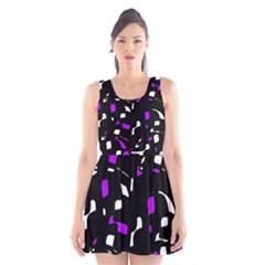 Purple, black and white pattern Scoop Neck Skater Dress