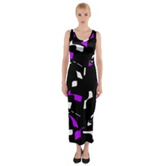 Purple, black and white pattern Fitted Maxi Dress