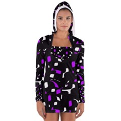 Purple, black and white pattern Women s Long Sleeve Hooded T-shirt