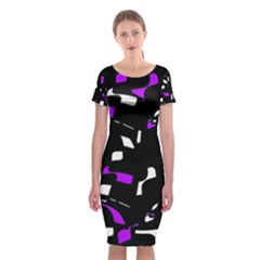 Purple, black and white pattern Classic Short Sleeve Midi Dress