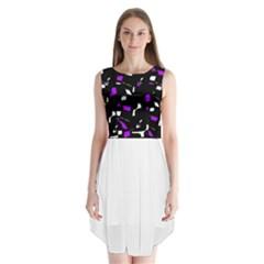 Purple, black and white pattern Sleeveless Chiffon Dress