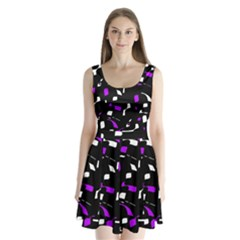 Purple, Black And White Pattern Split Back Mini Dress