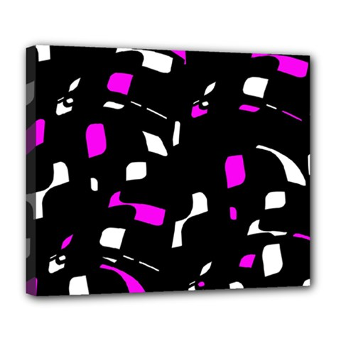 Magenta, black and white pattern Deluxe Canvas 24  x 20
