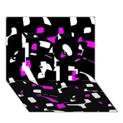 Magenta, black and white pattern LOVE 3D Greeting Card (7x5)