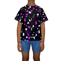 Magenta, black and white pattern Kid s Short Sleeve Swimwear
