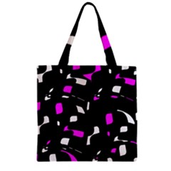 Magenta, black and white pattern Zipper Grocery Tote Bag