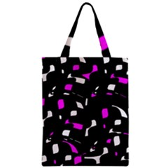 Magenta, black and white pattern Zipper Classic Tote Bag