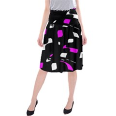 Magenta, black and white pattern Midi Beach Skirt