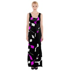 Magenta, black and white pattern Maxi Thigh Split Dress