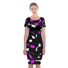 Magenta, black and white pattern Classic Short Sleeve Midi Dress