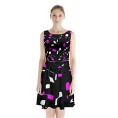 Magenta, Black And White Pattern Sleeveless Waist Tie Dress