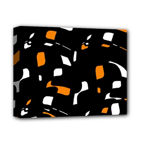 Orange, black and white pattern Deluxe Canvas 14  x 11