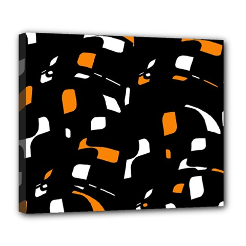 Orange, black and white pattern Deluxe Canvas 24  x 20