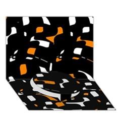 Orange, black and white pattern Circle Bottom 3D Greeting Card (7x5)
