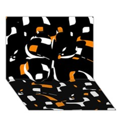 Orange, black and white pattern Clover 3D Greeting Card (7x5)