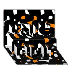 Orange, black and white pattern You Did It 3D Greeting Card (7x5)