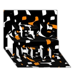 Orange, black and white pattern Get Well 3D Greeting Card (7x5)