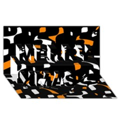 Orange, black and white pattern Merry Xmas 3D Greeting Card (8x4)