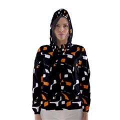 Orange, black and white pattern Hooded Wind Breaker (Women)