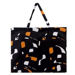 Orange, black and white pattern Zipper Large Tote Bag