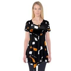 Orange, black and white pattern Short Sleeve Tunic