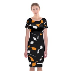 Orange, black and white pattern Classic Short Sleeve Midi Dress