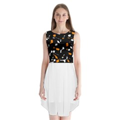 Orange, black and white pattern Sleeveless Chiffon Dress