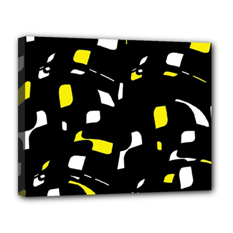 Yellow, black and white pattern Canvas 14  x 11