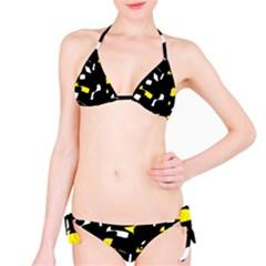 Yellow, black and white pattern Bikini Set