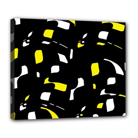 Yellow, black and white pattern Deluxe Canvas 24  x 20