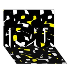 Yellow, black and white pattern I Love You 3D Greeting Card (7x5)