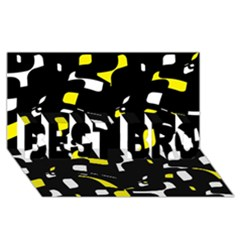 Yellow, black and white pattern BEST BRO 3D Greeting Card (8x4)
