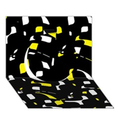 Yellow, black and white pattern Circle 3D Greeting Card (7x5)