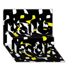 Yellow, black and white pattern You Rock 3D Greeting Card (7x5)