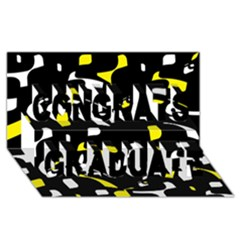 Yellow, black and white pattern Congrats Graduate 3D Greeting Card (8x4)