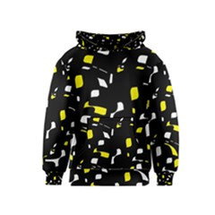 Yellow, black and white pattern Kids  Pullover Hoodie