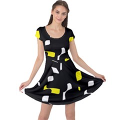 Yellow, black and white pattern Cap Sleeve Dresses
