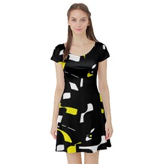Yellow, black and white pattern Short Sleeve Skater Dress
